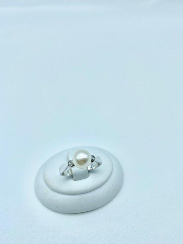 anello perla e diamante